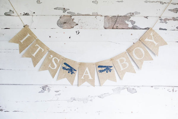 Plane Baby Shower Decor, It's A Boy Airplane Banner, Vintage Airplane Decoration,  Baby Boy Shower, Vintage Plane Baby Shower Decor, B688
