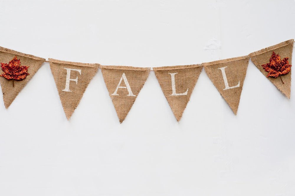 Fall Banner, Autumn decor, Fall Garland, Fall Burlap Banner, Autumn Banner, Fall Decor, Fall Bunting Glittery Leaves, B025