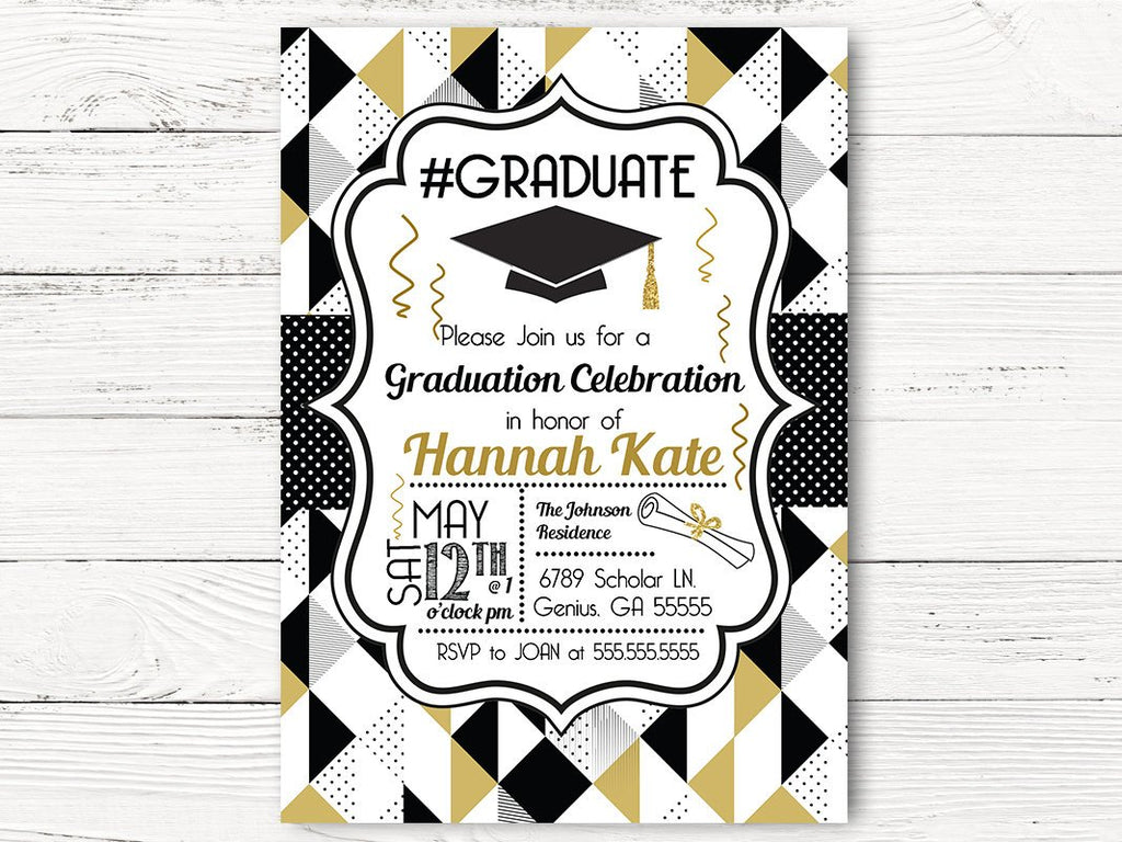 Digital Class of 2019 Graduation Invitations – Swanky Party Box