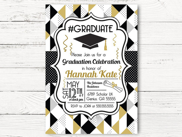 Graduation Party Cards, Class of 2017 Graduation Invitations, Black and Gold Graduation Invitations, 2017 Graduation Invite Cards, C054