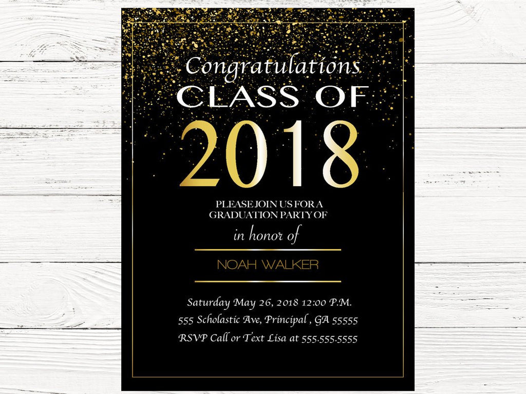 Digital Black and Gold Graduation Invitations – Swanky Party Box