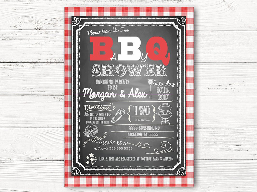 Digital BBQ Baby Shower Invitations, Personalized BBQ Baby Shower Cards, Outdoor Baby Shower Party Invites, BBQ Baby Shower Cards, C045