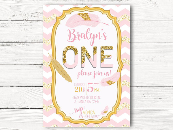 Pink Gold First Birthday Invitation, First Birthday Invite, C122