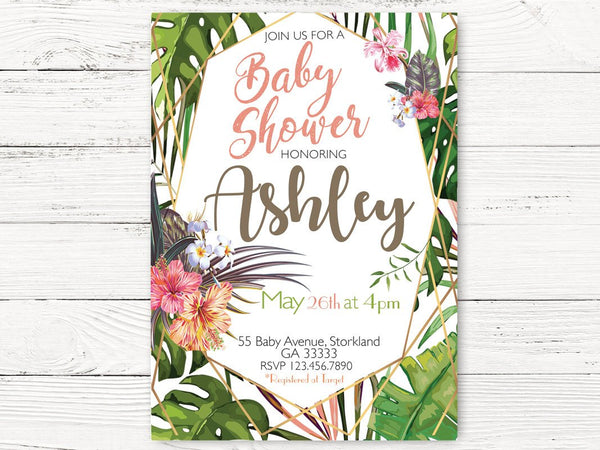 Digital Tropical Baby Shower Invitation, Hawaiian Floral Shower Invite , Baby Girl  Shower Invitation, Hibiscus Invitation C109