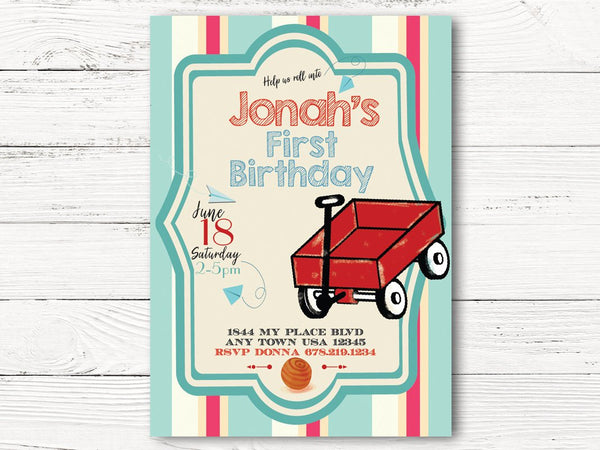 Digital Vintage Red Wagon First Birthda, Roll Into Birthday Party, Red Wagon Themed Party, First Birthday Invitation , C111
