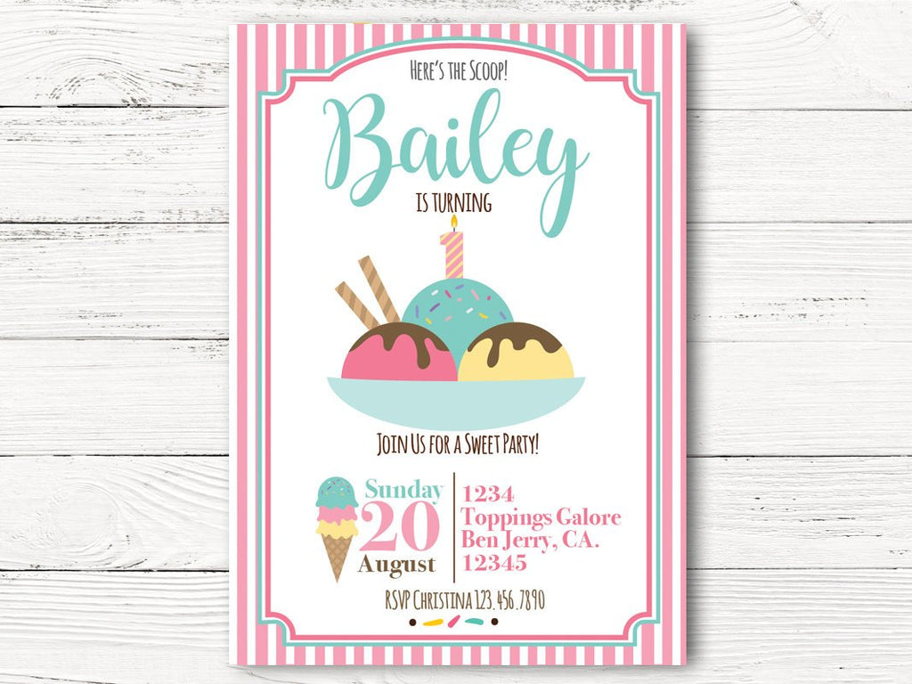 Ice Cream  Birthday Invitation, Girl First Birthday, Personalized Ice Cream Social Invitation, Girl 1st Birthday Invitation Cards, C124