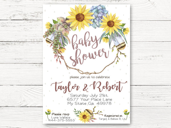 Boho Sunflower Baby Shower Invitation, Sunflower Invite,  Feathers and Sunflowers Invitation, Sunflower Shower Invite,  C118