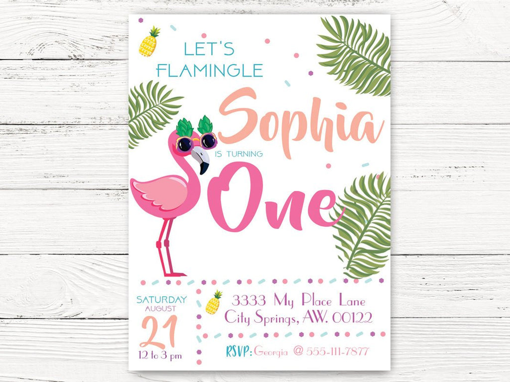 Pool Party First Birthday Invitation Flamingo Invite Girl