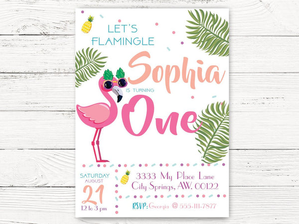 Pool Party First Birthday Invitation, Flamingo Birthday Invite , Birthday Girl Invitation, First Birthday C110