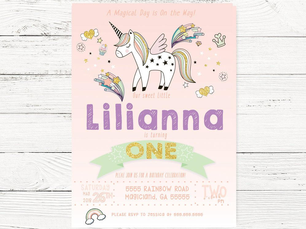 Digital Unicorn Party, Unicorn Birthday Party Invite, Unicorn Birthday, Peach Unicorn Invite, Unicorn 1st Birthday Party, C107