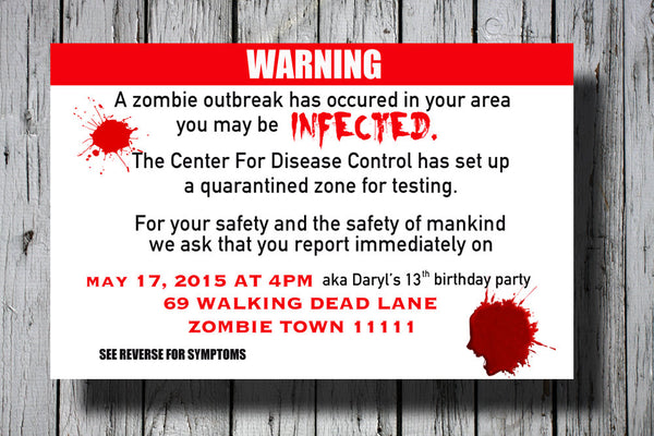 Halloween Party Invite, Halloween Invite, Halloween Birthday Party Invitation, Zombie Party Invitation, Zombie Party Invite, C009