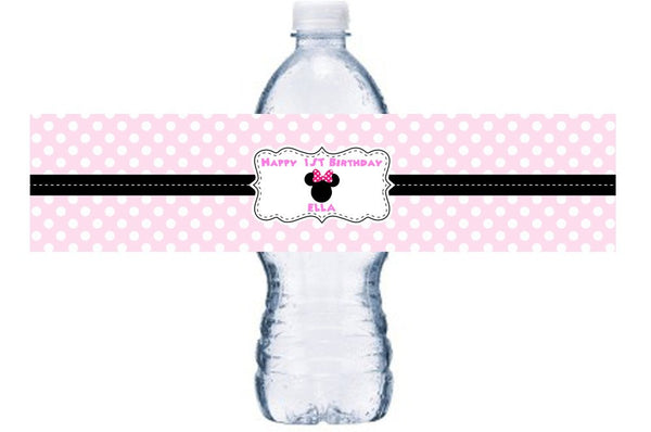 Minnie Mouse Waterproof Water Bottle Label, Minnie Mouse Waterproof Adhesive Water Bottle Label, BL036