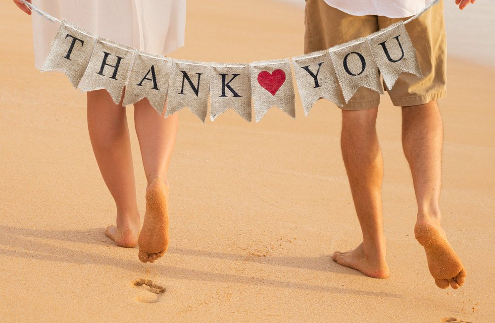Thank You Burlap Banner, Thank You Banner, Thank You Wedding Photo Prop, B045