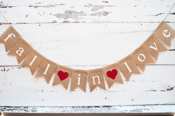 Fall in Love Burlap Banner, Fall in Love Banner, Fall Wedding Decor, Bridal Shower Banner, Wedding Photo Prop. B080