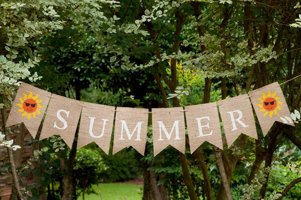 Summer Banner, Summer Decor, Summer Burlap Banner, Summer Sign, B144