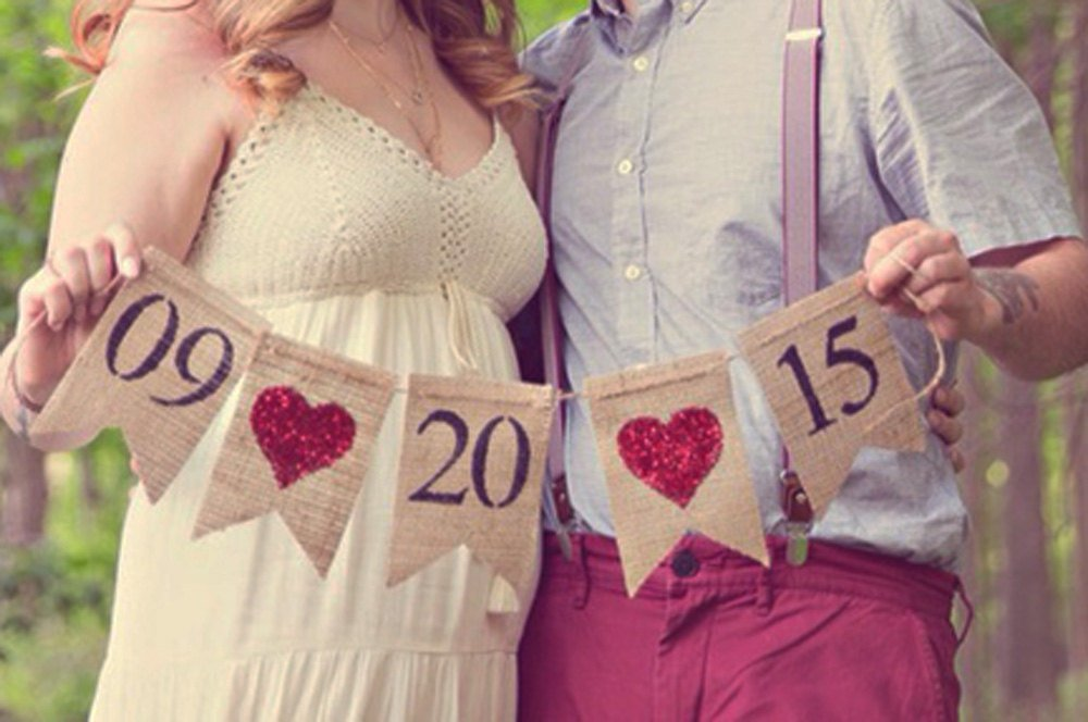 Engagement Burlap Banner, Save The Date Banner, Wedding Photo Prop, Engagement Photo Prop, B041