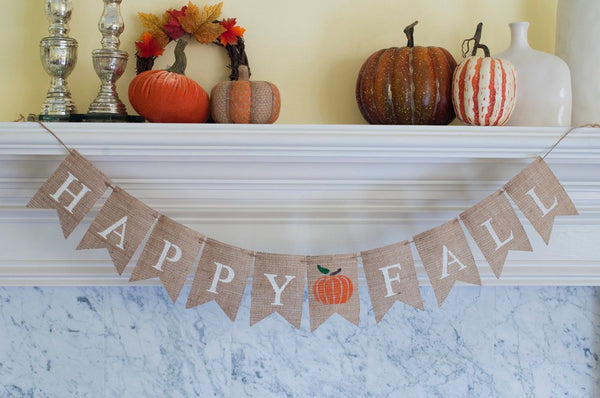 Happy Fall Burlap Banner, Fal Banner, Fall Decor, Fall Photo Prop, B095
