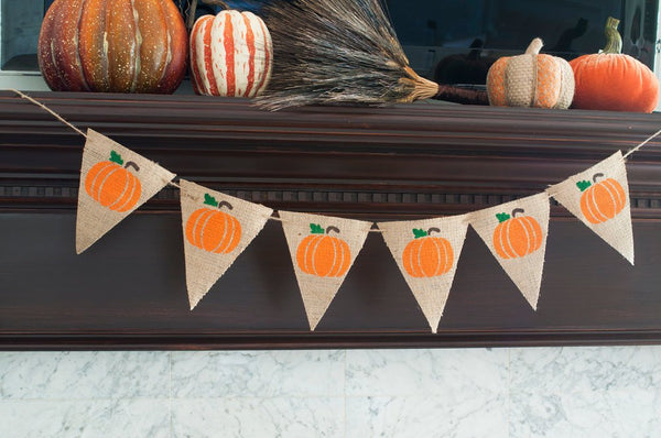 Pumpkin Banner, Thanksgiving Decor, Thanksgiving Burlap Banner,  B098