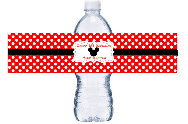 Mickey Mouse Waterproof Water Bottle Label, Mickey Mouse Waterproof Adhesive Water Bottle Label, BL039