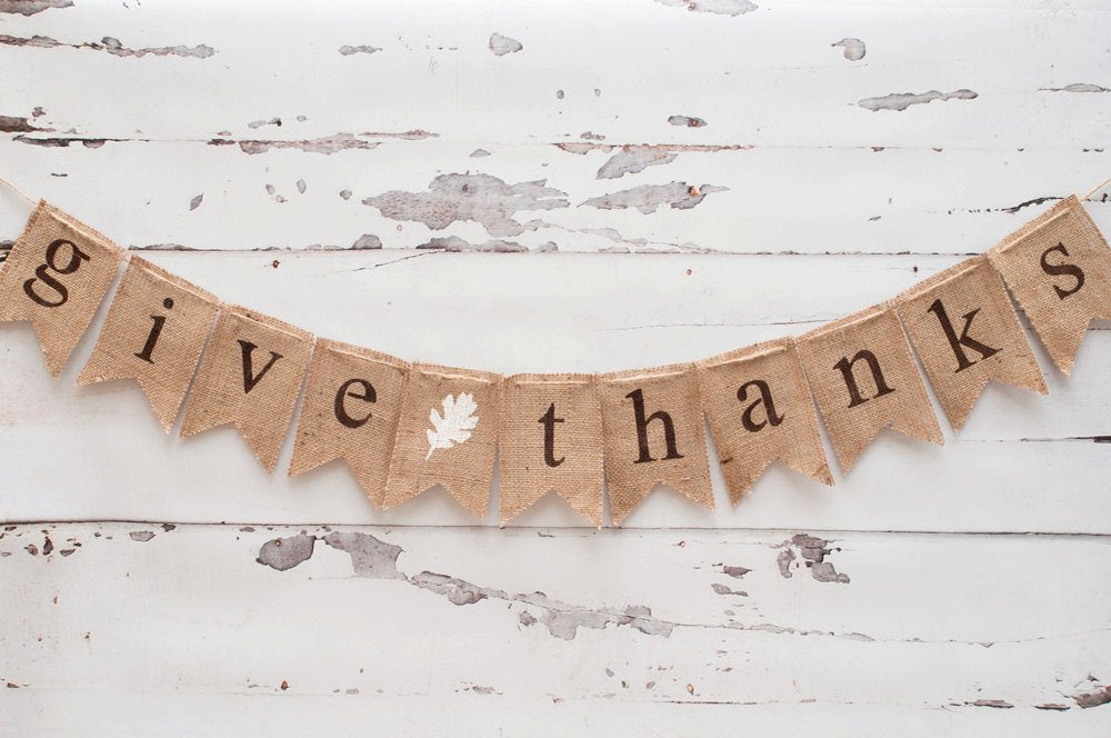 Give Thanks Banner, Thanksgiving Banner, Give Thanks Burlap Banner, Thanksgiving Decor, Thanksgiving Photo Prop B017