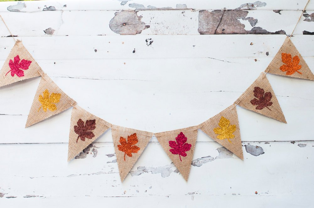 Fall Leaves Banner, Autumn Leaves Banner, Fall Decor, Autumn Decor Thanksgiving Decor, Thanksgiving Burlap Banner, B093
