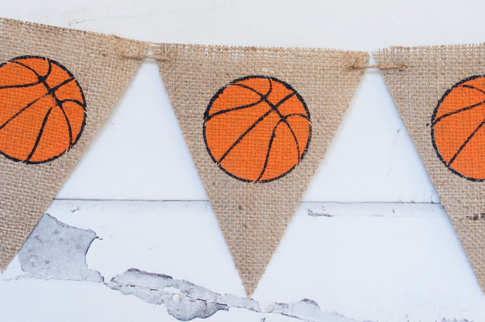 Basketball Burlap Banner, Basketball Banner, Basketball Decor, Basketball Party Sign, Basketball Season Decor, Basketball Party, B171