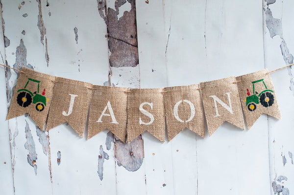 Tractor Banner, Truck Burlap Banner, Tractor Name Banner, Personalized Truck Banner, B159