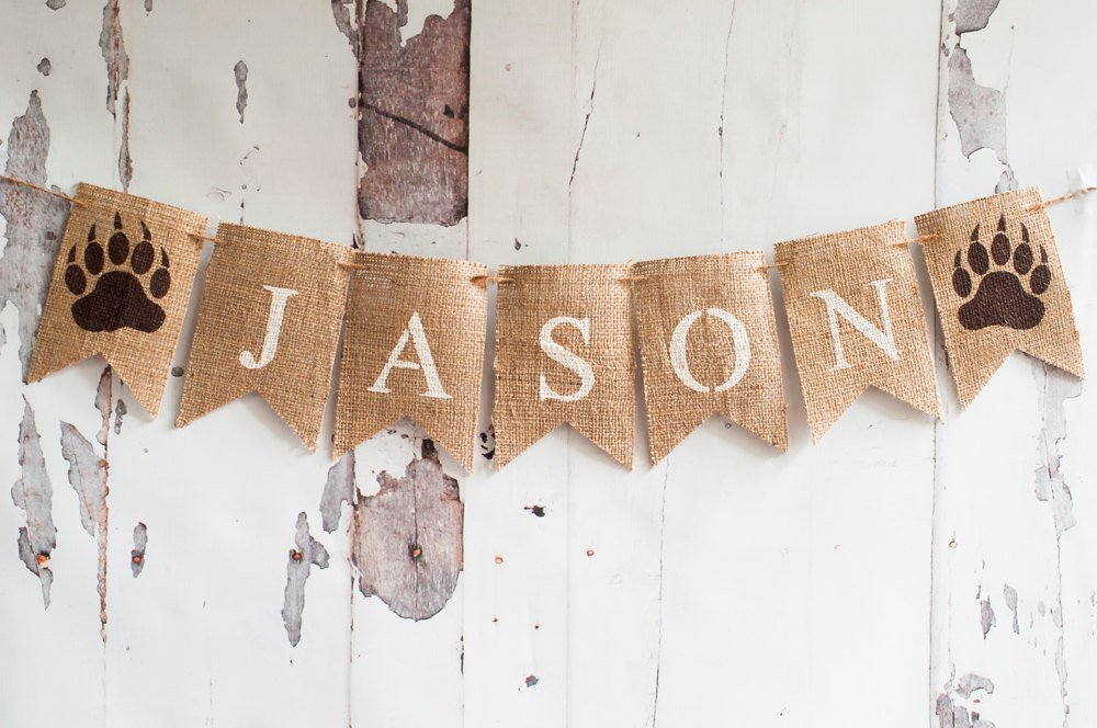 Camping Banner, Bear Claw Burlap Banner, Camping Garland, Camp Decor, Home Decor,  Log Cabin Decor, Cabin Sign, B130