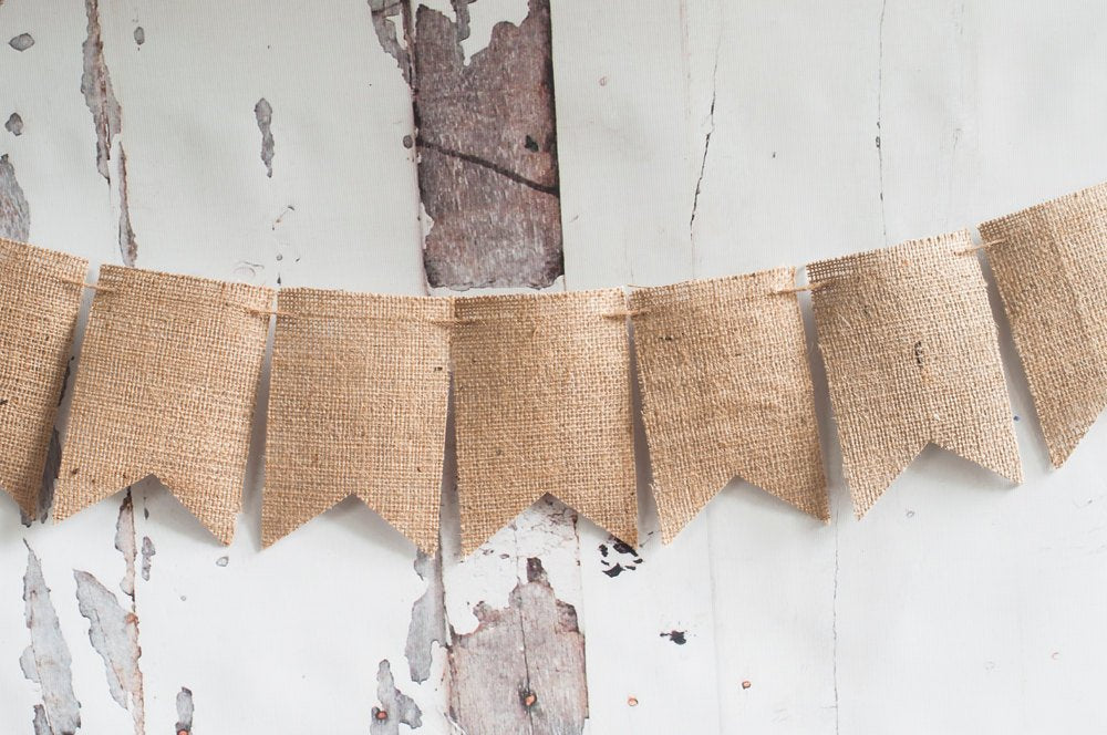 6 to 25 D.I.Y. Burlap Banner, Burlap Banner Kit, Plain Burlap Bunting, Make Your Own Burlap Banner, Fishtails