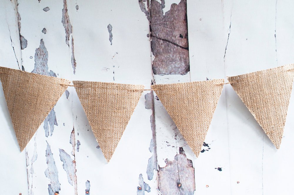 D.I.Y. Burlap Banner, Triangle Burlap Banner Kit, Plain Burlap Bunting, Make Your Own Burlap Banner, B158