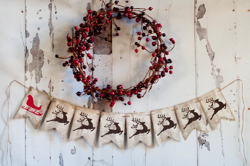 Reindeer Banner, Reindeer Burlap Banner, Holiday Banner, Rustic Christmas Banner, Christmas Decor, Holiday Decor, B089