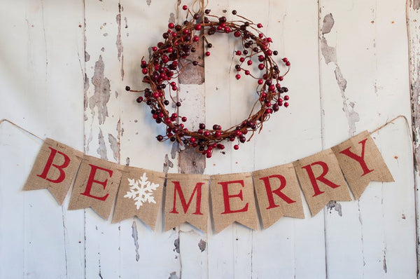 Christmas Decorations, Christmas Banners, Holiday Banner, Christmas Burlap Banner, Rustic Christmas Decoration, Be Merry Banner, B073