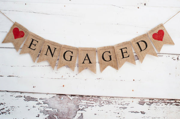 Engaged Burlap Banner, Engagement Banner, Wedding Photo Prop, Engagement Photo Prop, B031