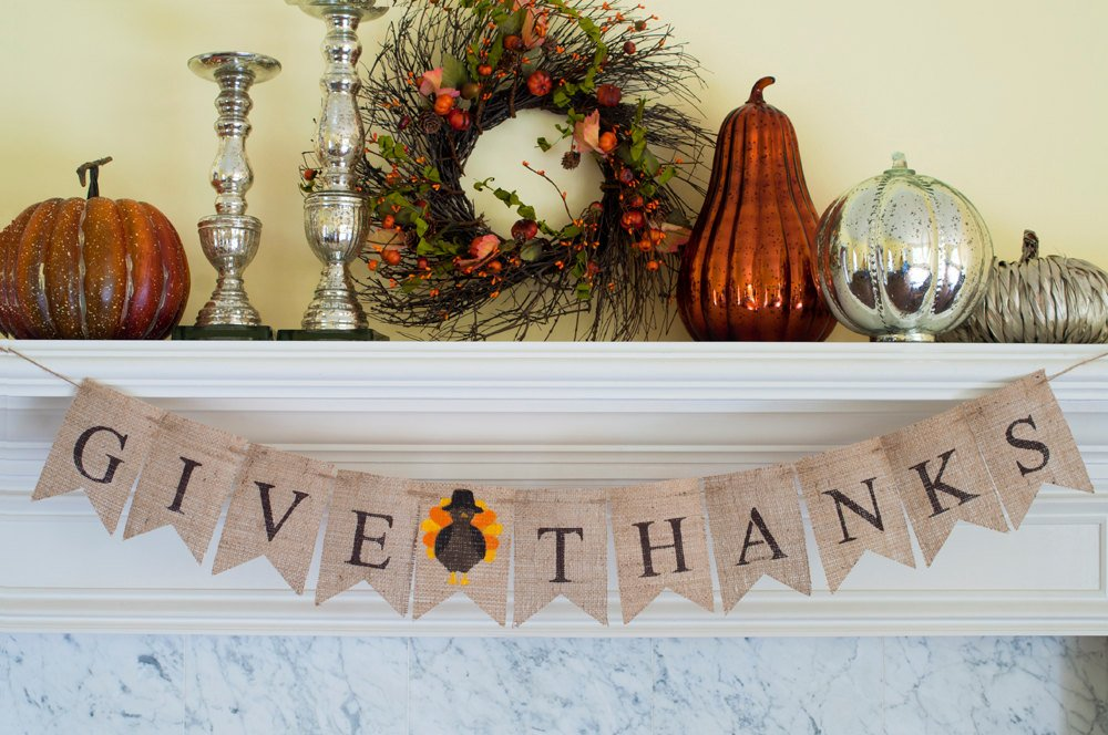Give Thanks Banner, Thanksgiving Banner, Give Thanks Burlap Banner, Thanksgiving Decor, Mantel Decor, Turkey Banner, B116