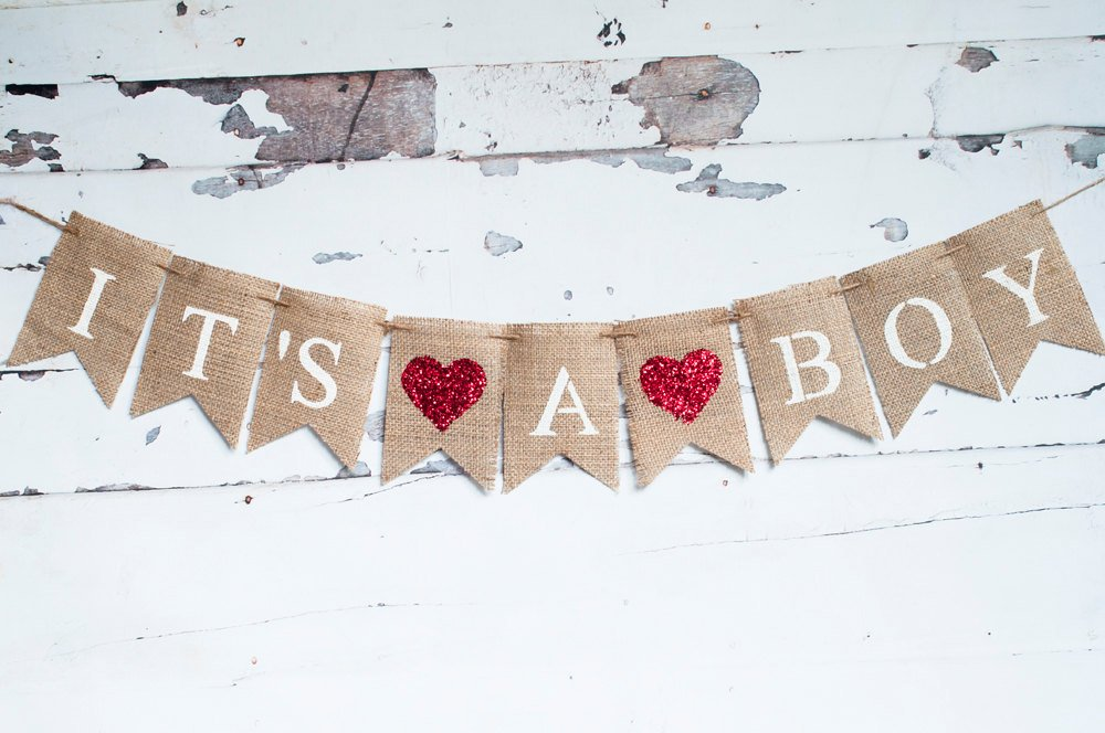 It's A Boy Banner, Heart Banner, Heart Baby Shower Banner, Red Heart Boy Banner, Gender Reveal Banner, Baby Shower Banner, B135