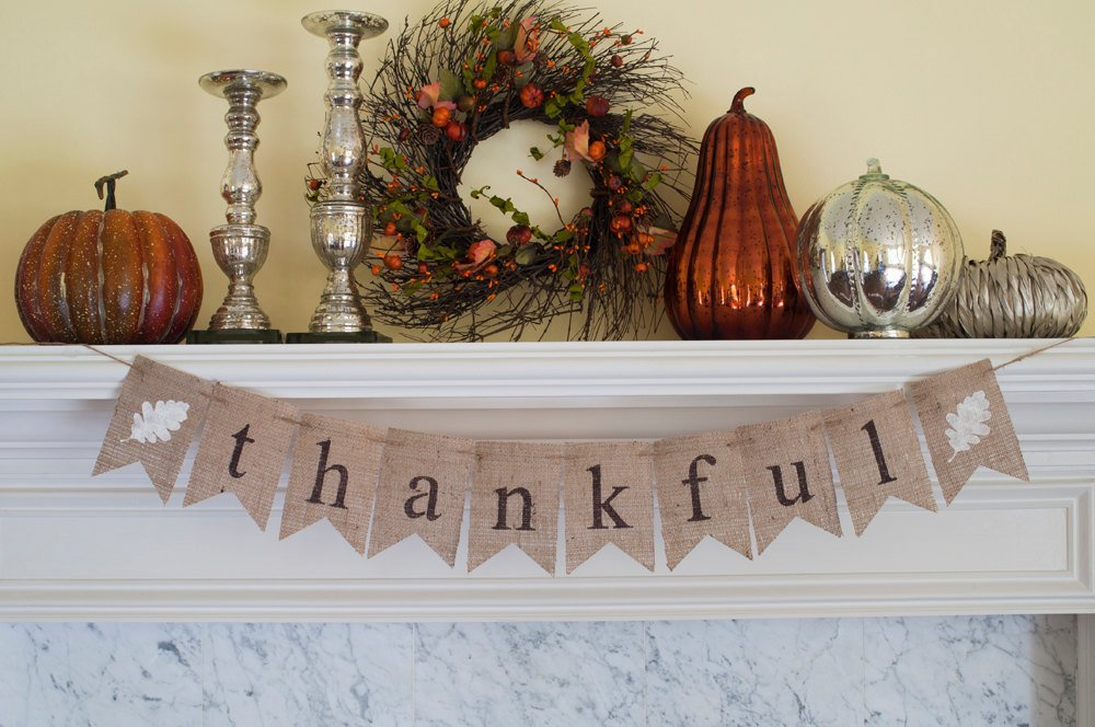 Thankful Banner, Thanksgiving Banner, Thankful Burlap Banner, Thanksgiving Photo Prop, Thanksgiving Decor, Mantel Decor, B123