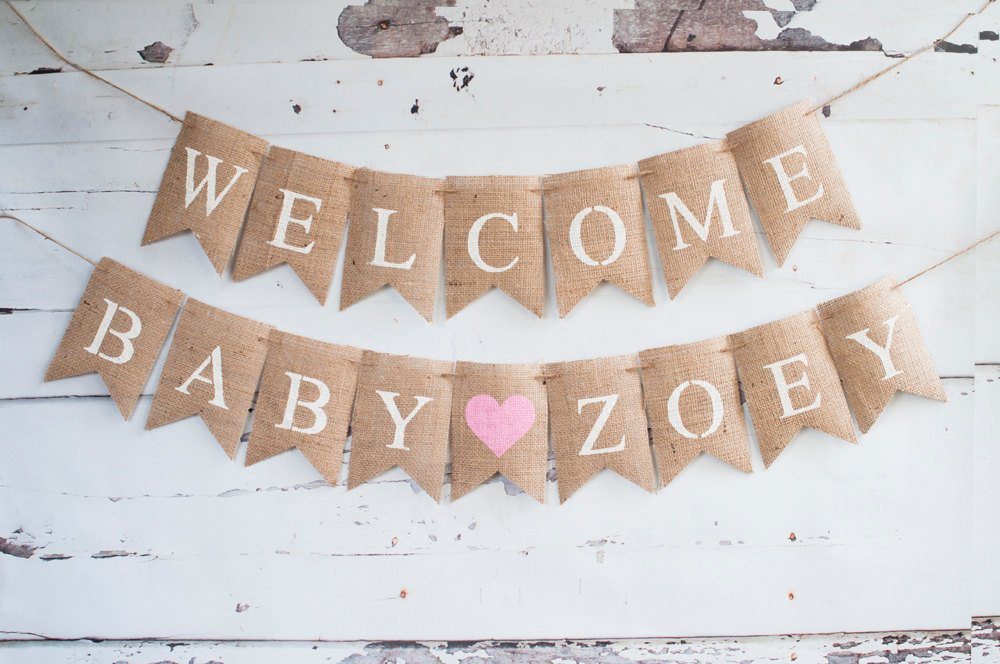 Baby Shower Decor Welcome Baby Personalized Banner Swanky Party Box