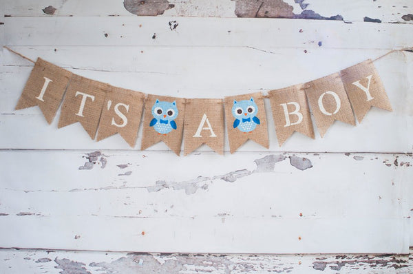 It's A Boy Banner, Owl  Banner, Owl Baby Shower Banner, Baby Boy Banner, Gender Reveal Banner, Baby Shower Banner, B219