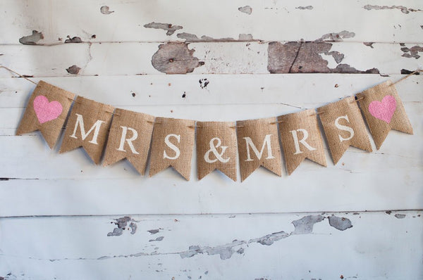 Mrs & Mrs Banner, Wedding Banner, Wedding Photo Prop, Gay Wedding Banner, B222
