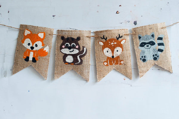 Woodland Animals Banner, Fox Banner, Squirrel Banner, Deer Banner,  Racoon Banner, Woodland Animals Party, B263