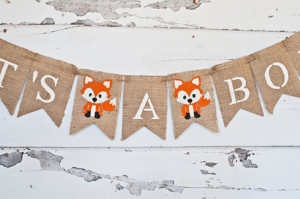 Woodland Baby Shower Decor, Woodland Baby Shower Banner, Fox It's A Boy Banner, Fox Banner, Woodland Gender Reveal Banner, B266