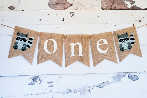 One Banner, Raccoon One Banner, Raccoon Highchair Banner, Woodland Birthday One Banner, Woodland 1st Birthday, Woodland Banner, B292