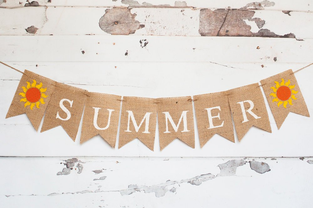 Summer Banner, Summer Decor, Summer Burlap Banner, Summer Sign, Summer Party Banner, B250