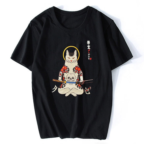Japan Style Cotton Samurai Cat  T-Shirt- Black or White