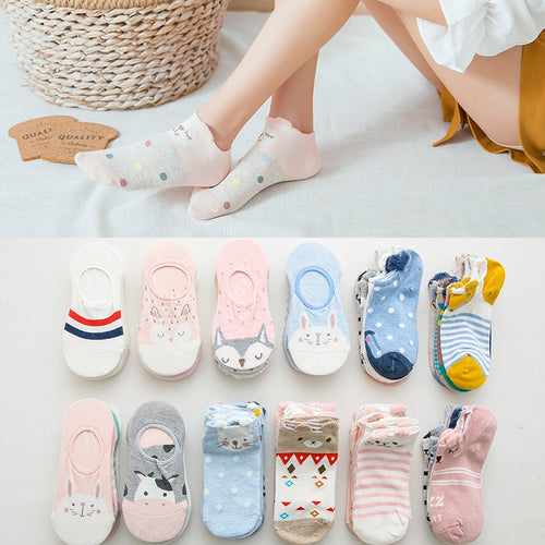 Women's Cartoon cotton ankle socks- 5 pairs