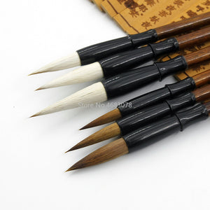 6PCS White woolen brush/Brown Weasel Wool Hair Chinese Japanese Calligraphy Brush Pen Set Art for Office School Darwing Supplies