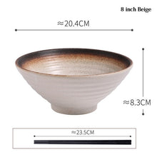 Load image into Gallery viewer, 8 Inch Ceramic Japanese Ramen Noodle Bowl