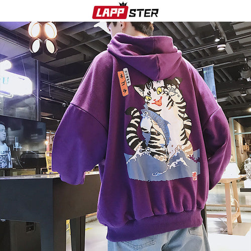 Men's Harajuku Funny Cat Hooded Hoodie