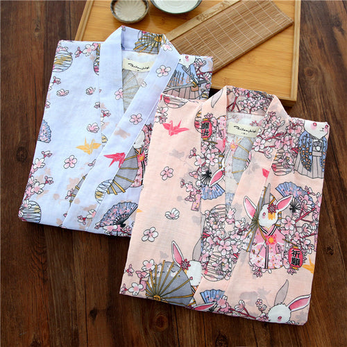 Woman's Japanese Kimono - Pure Cotton With Short Sleeves
