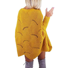 Load image into Gallery viewer, Fashion Wave Hem Long Batwing Sleeve Hollow Out Elegant Sweaters